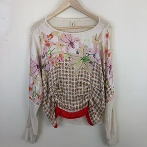 Anthropologie Tiny Draped Floral Micah Top